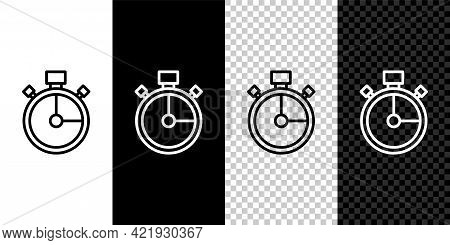 Set Line Stopwatch Icon Isolated On Black And White Background. Time Timer Sign. Chronometer Sign. V