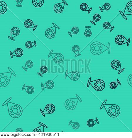 Black Line Car Service Icon Isolated Seamless Pattern On Green Background. Auto Mechanic Service. Re