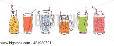 Set Of Detox Drinks, Fruit Smoothies, Organic Lemonades In Glass Bottles, Jars And Jugs With Straws.