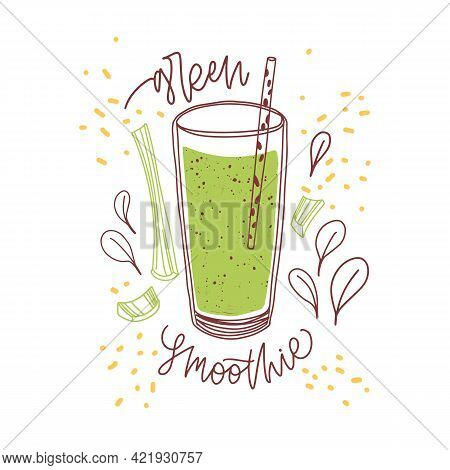 Glass Of Fresh Green Smoothie With Celery Stalk And Basil Leaves. Organic Drink With Straw. Detox Su