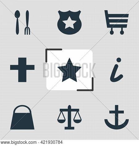 Vector Illustration Of 9 Check-in Icons. Editable Set Of Religion, Police, Harbor And Other Icon Ele
