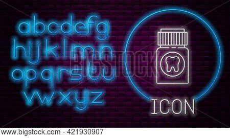 Glowing Neon Line Toothache Painkiller Tablet Icon Isolated On Brick Wall Background. Tooth Care Med