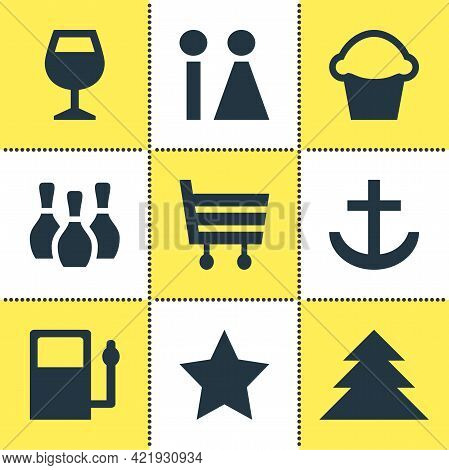 Vector Illustration Of 9 Check-in Icons. Editable Set Of Harbor, Bar, Market And Other Icon Elements