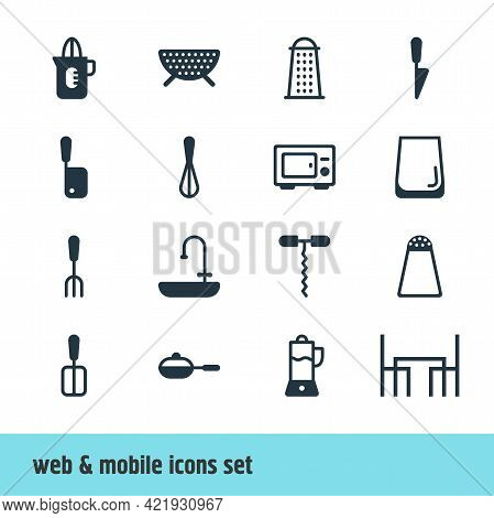 Vector Illustration Of 16 Restaurant Icons. Editable Set Of Water Glass, Juicer, Salt Cellar And Oth