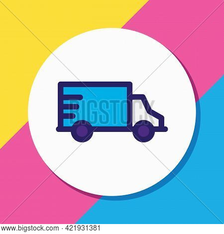 Vector Illustration Of Truck Icon Colored Line. Beautiful Transport Element Also Can Be Used As Van