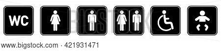 Toilet Icons Set. Women, Men, Baby And Disabled Human Symbol. Wc Toilet Signs. Vector Illustration