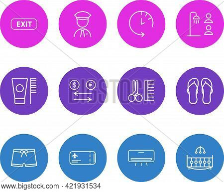 Vector Illustration Of 12 Tourism Icons Line Style. Editable Set Of Security Guard, Exit, Men Swimwe