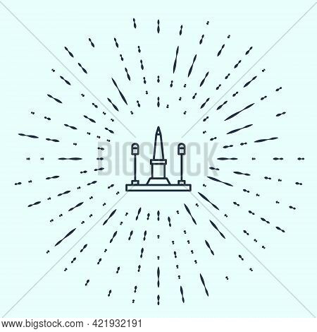 Black Line Place De La Concorde In Paris, France Icon Isolated On Grey Background. Abstract Circle R