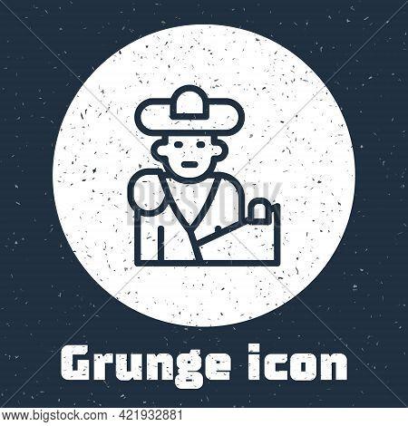Grunge Line Spain Bullfight, Matador Icon Isolated On Grey Background. Traditional Spanish Entertain