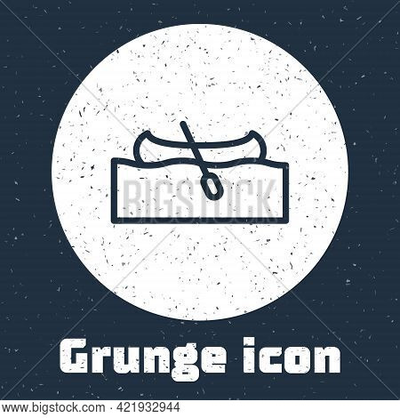 Grunge Line Kayak And Paddle Icon Isolated On Grey Background. Kayak And Canoe For Fishing And Touri