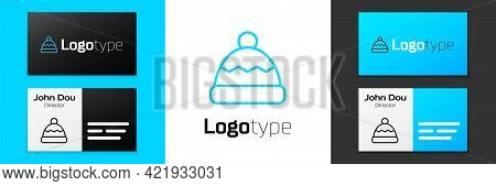 Blue Line Beanie Hat Icon Isolated On White Background. Logo Design Template Element. Vector