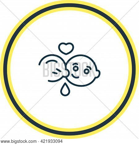 Illustration Of Breast Feeding Icon Line. Beautiful Child Element Also Can Be Used As Lactation Icon