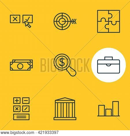 Illustration Of 9 Management Icons Line Style. Editable Set Of Puzzle, Research, Briefcase And Other