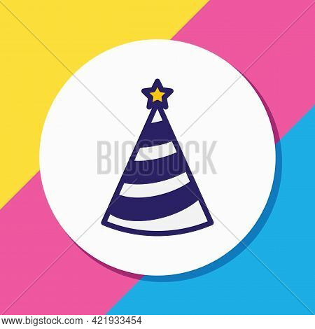 Illustration Of Party Hat Icon Colored Line. Beautiful Party Element Also Can Be Used As Cap Icon El