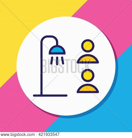 Illustration Of Shared Bathroom Icon Colored Line. Beautiful Vacation Element Also Can Be Used As Sh