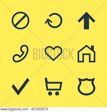 Illustration Of 9 User Icons. Editable Set Of Trading Cart, Homepage, Up And Other Icon Elements.