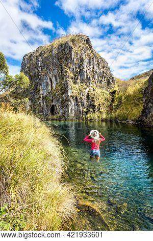 Woman Tourist Or Visitor  Walking Through Clarkes Gorge In Nsw Australia