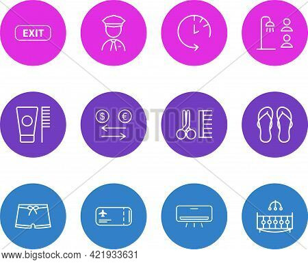 Illustration Of 12 Tourism Icons Line Style. Editable Set Of Security Guard, Exit, Men Swimwear And