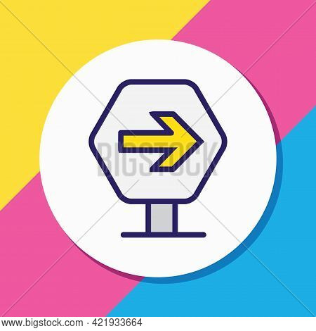 Illustration Of Road Sign Icon Colored Line. Beautiful Carrying Element Also Can Be Used As Directio