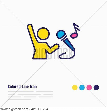 Illustration Of Singing Icon Colored Line. Beautiful Hobby Element Also Can Be Used As Vocalist Icon