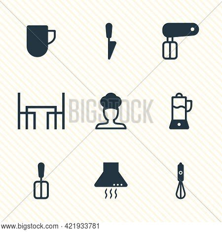 Illustration Of 9 Kitchenware Icons. Editable Set Of Juicer, Chef, Dining Table And Other Icon Eleme