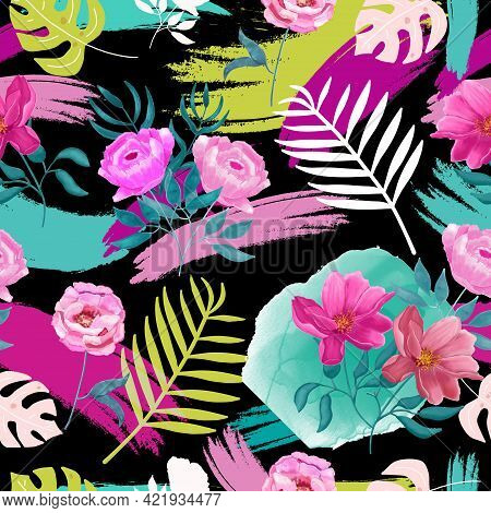 Seamless Watercolor Tropical, Jungle Pattern With Monstera Leaves, Palm Leaves, Botanical Flowers On