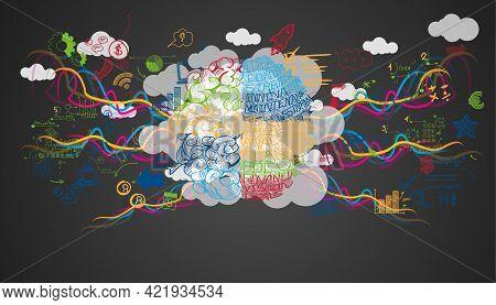 Brain And Idea Concept. Plan Think Analyze Creative Startup Business. Illustration Creativity Modern