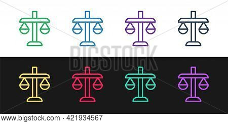 Set Line Scales Of Justice Icon Isolated On Black And White Background. Court Of Law Symbol. Balance