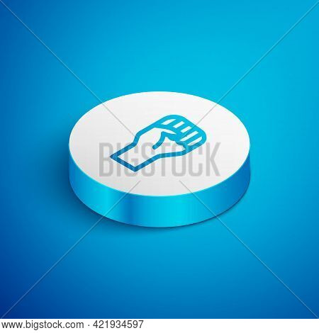 Isometric Line Raised Hand With Clenched Fist Icon Isolated On Blue Background. Protester Raised Fis