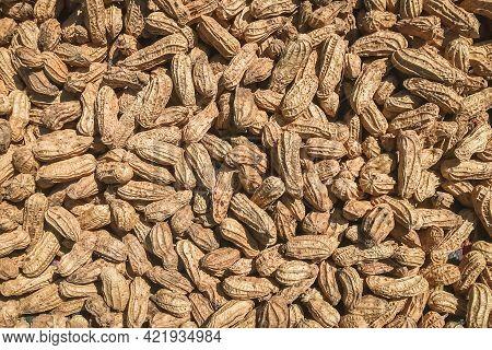 Top View Of Peanuts (arachis Hypogaea). Food Background.