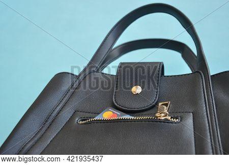 Mandi, Himachal Pradesh, India - 04 24 2021: Mastercard On Pocket Of Premium Black Color Leather Han