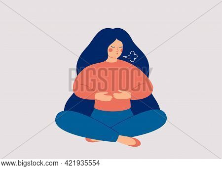 Woman Makes Breathing Exercise. Girl Sits On The Floor In Pose Lotus And Makes A Exhale. Recovery Re