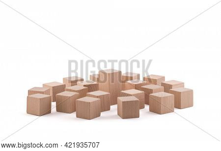 One different higher cube block among wooden blocks isolated on white with clipping path. Leadership concept.