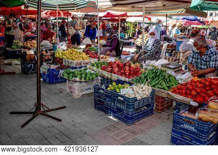 Alanya, Turkey - October 23, 2020: Vegetable Mobile Street Market In Alanya. Turkish Women And Men S