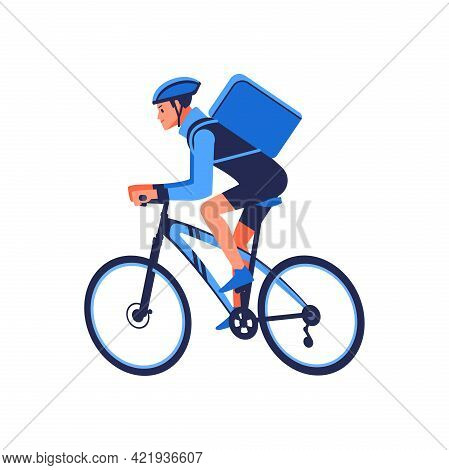 Food Delivery Bicycle Driver With Blue Backpack Behind Back Is On His Way To Deliver Food. Courier O
