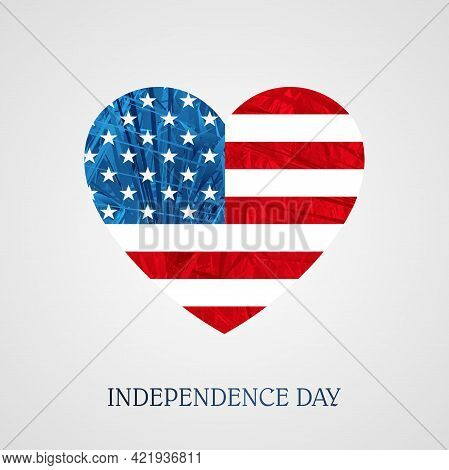 Texture Icon In The Form Of A Heart With The Outlines Of The Flag Of America, A Festive Design Eleme
