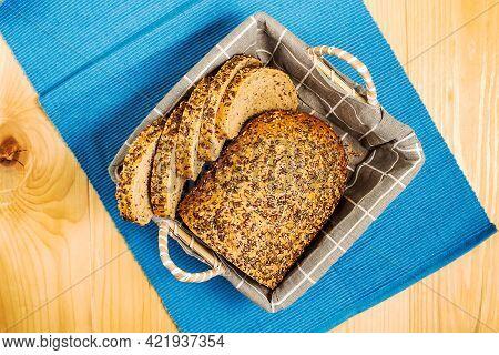 Homemade Sourdough Bread With Sesame Seeds, Pumpkin Seeds, Sunflower Seeds And Flax Seeds With   Cut