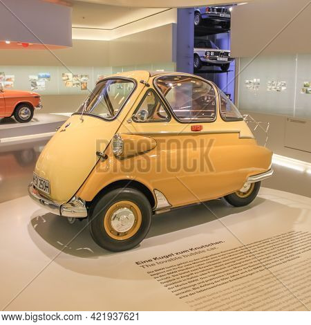Germany, Munich - April 27, 2011: Bmw Isetta In The Exhibition Hall Of The Bmw Museum. The Car Was P