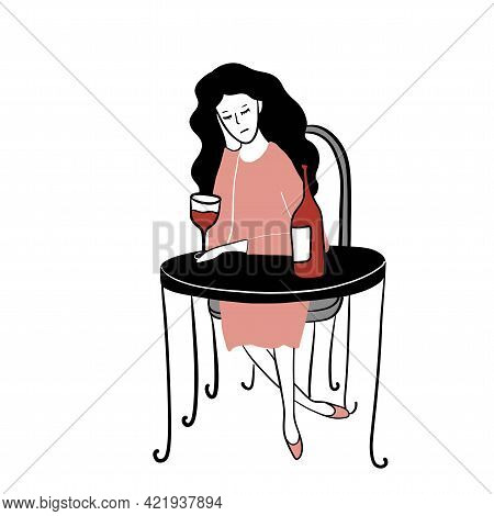 Lonely Sad Woman In The Cafe With Bottle Of Vine, Free Hand Vector Illustration