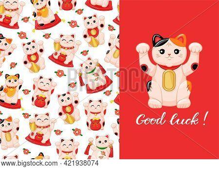 Japanese Cat Colorful Seamless Pattern On White Background. Maneki Neko Postcard For Good Luck. Vect