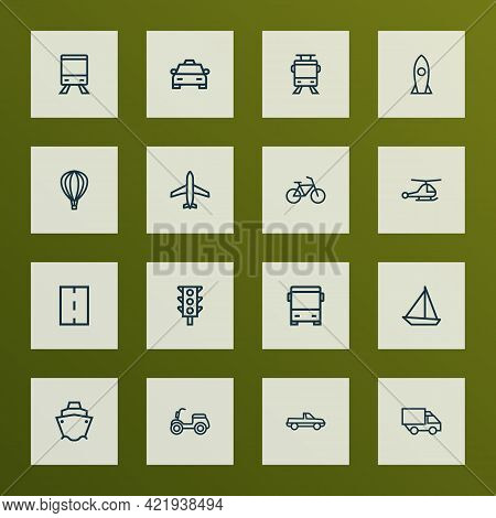 Shipment Icons Line Style Set With Scooter, Carriage, Bicycle And Other Taxi Elements. Isolated Vect