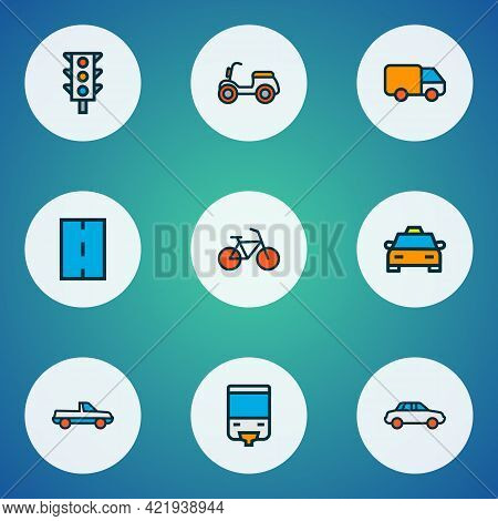 Transportation Icons Colored Line Set With Bike, Van, Car And Other Cab Elements. Isolated Vector Il