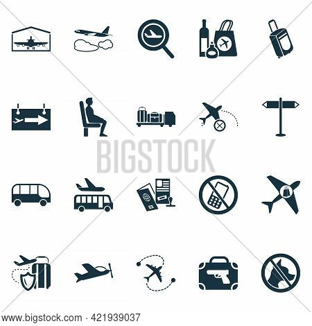 Aviation Icons Set With Gates Sign, Bus, Buy On Board And Other Plane Assurance Elements. Isolated V