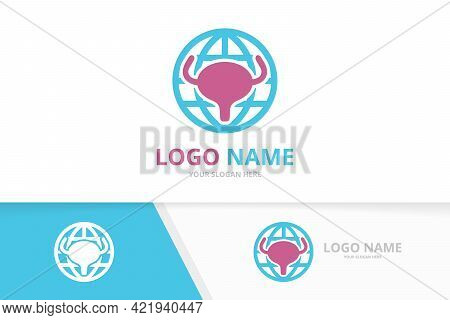 Vector Bladder And Globe Logo Combination. Urinary Tract Logotype Design Template.