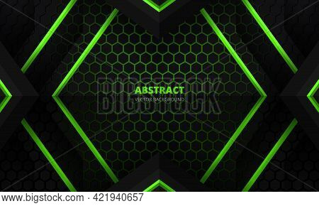 Futuristic Black And Green Abstract Gaming Banner Design Template With Hexagon Carbon Fiber. Dark Te