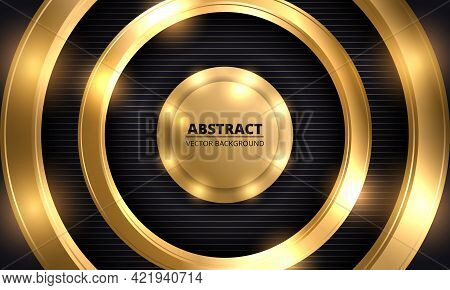 Abstract Luxury Dark Vector Background. Three-dimensional Gold Circles With Lights On Black Striped