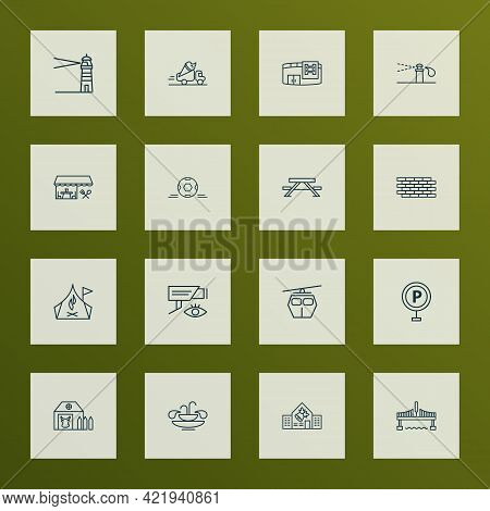 Urban Icons Line Style Set With Sprinkler System, Brick Wall, Video Control And Other College Elemen