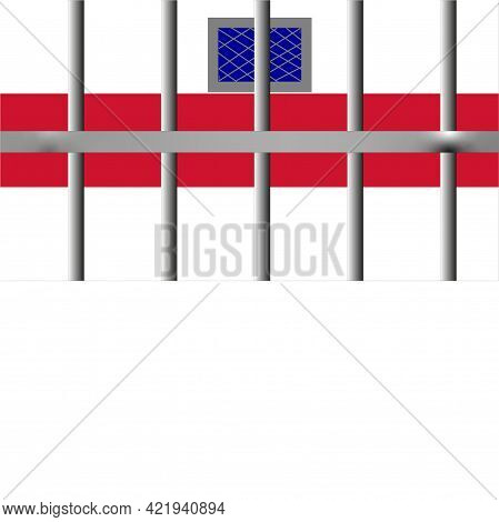 Metal Prison Bars. Behind The Bars, As A Background, You Can See A Wall In Colors That Symbolize The