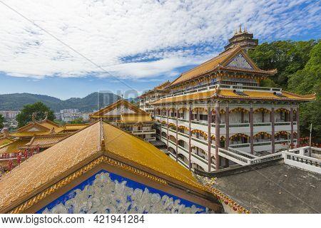 Beautiful Kek Lok Si Temple With Blue Sky In Penang Island, Malaysia.