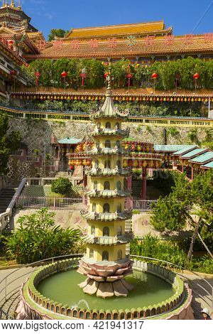 Penang, Malaysia - February 13,2019 : Beautiful Kek Lok Si Temple With Blue Sky In Penang Island, Ma